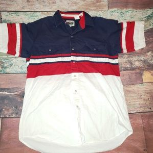Cumberland Outfitters Western Red Blue Short Sleev